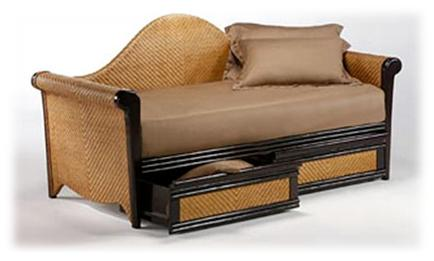 wicker day bed with drawers