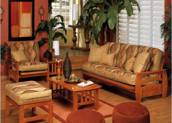 futon sofa, chair and ottoman