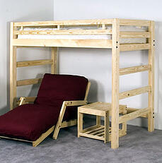 loft bed with futon and table